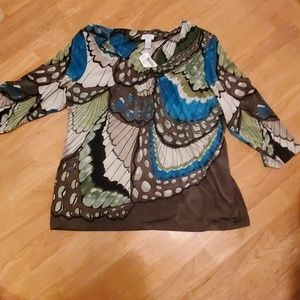 Chicos Butterfly garden top size 3